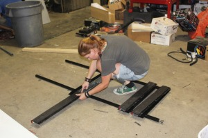 Lorie adding slides to the bunk rails