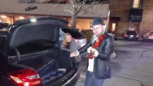 This was J playing Lorie's violin in a parking lot near the Johnson City Venue.